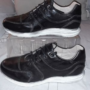 Bed Stu black leather lace shoe white distress